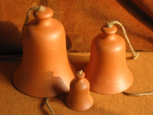 Bells made from red clay in Corund, Harghita County, Romania.