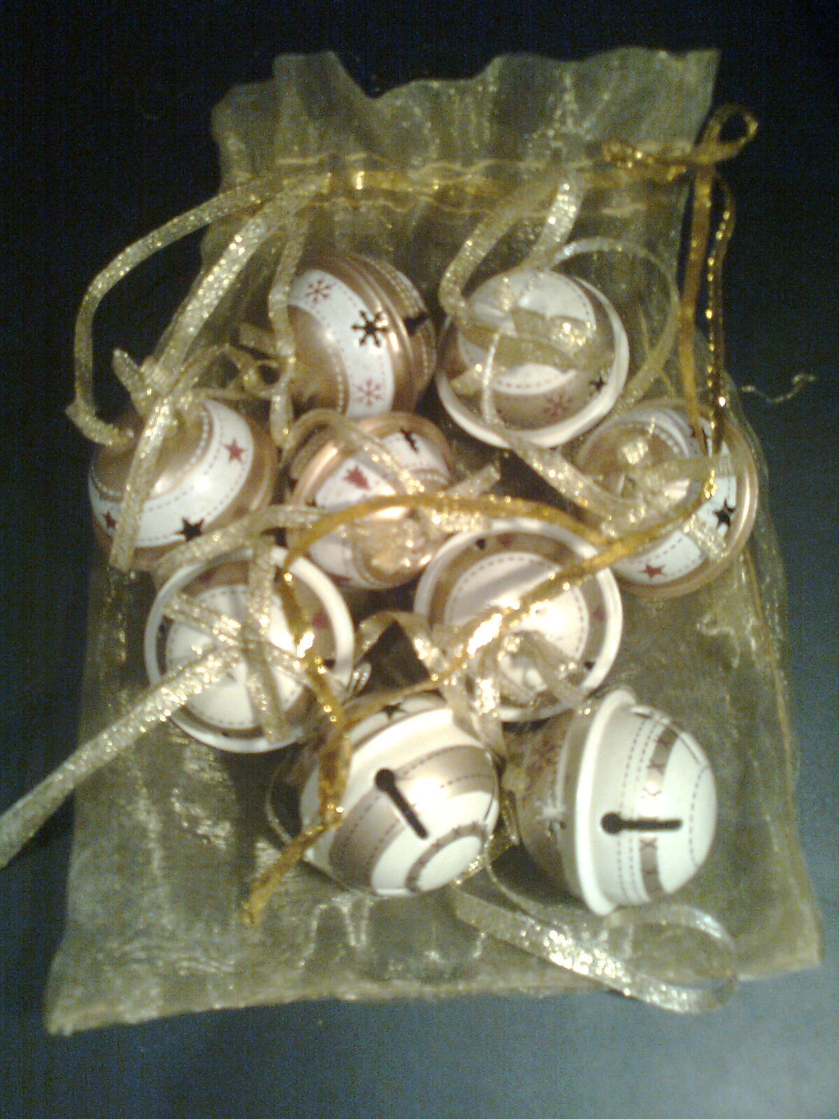 12 italian golden bells for Christmas tree (Natale bubbolo)