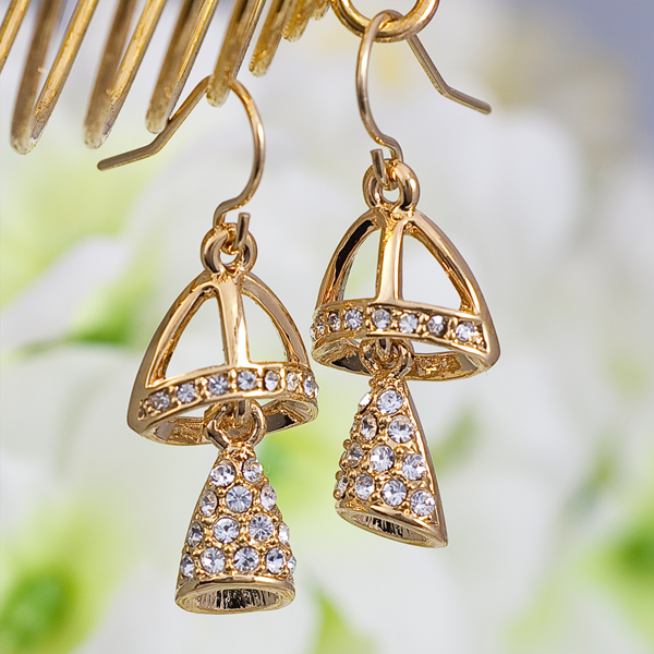 Gold DingDong Bell Swarovski Earrings, made in Hong Kong