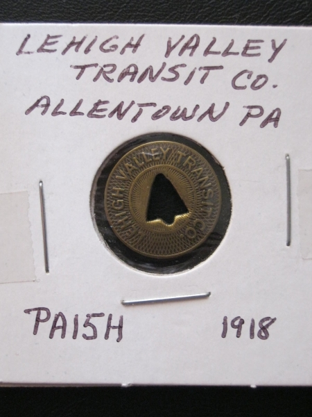 This is a vintage token from the Lehigh Valley Transit Company, Fare Check. 