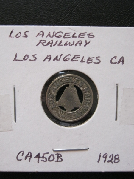 1928 LOS ANGELES RAILWAY COIN TOKEN CALIFORNIA CA ELECTRIC TRAIN TROLLEY TRANSIT