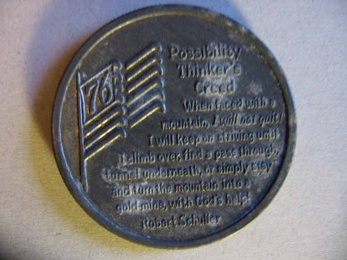 Possibility Thinkers Creed Liberty Bell 1776-1976 Coin Robert Schulle.