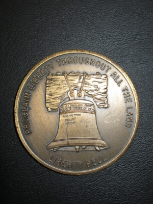Here's the 1973 Liberty Bell Antique Bronze Doubloon with Oral Roberts July 4th Prayer.