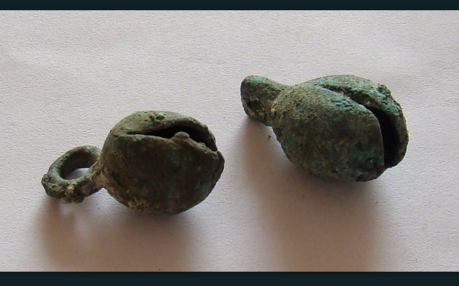 Ancient viking pair bronze bells, artifacts found in the Viking fortification area of Dublin, Ireland.